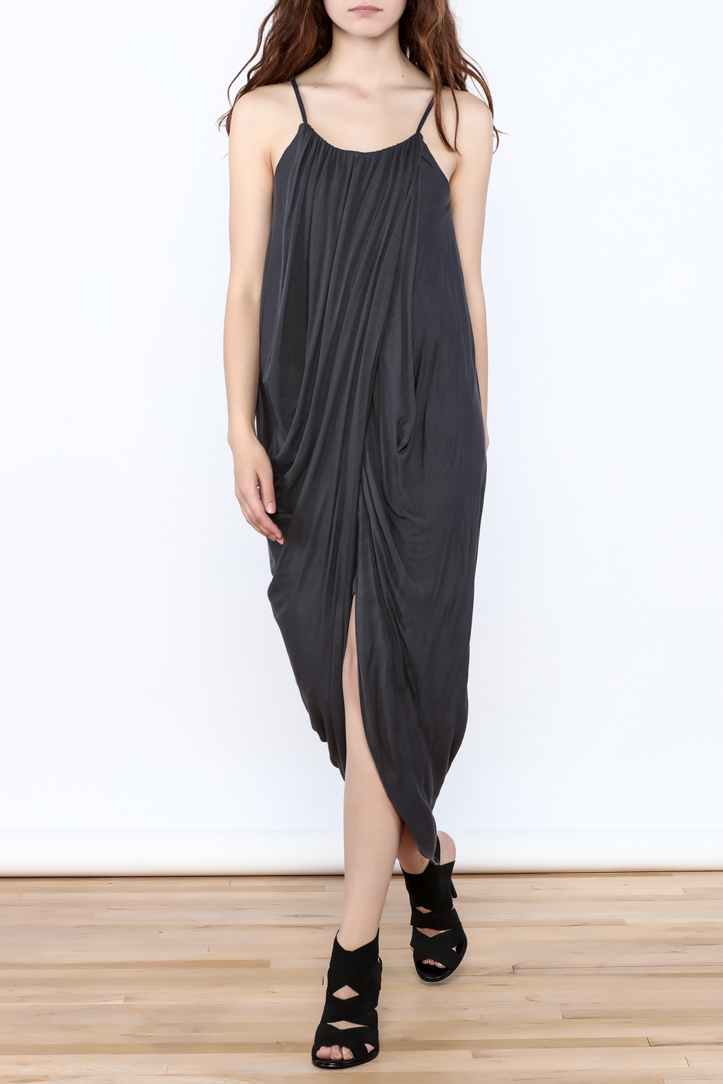 HYFVE Charcoal Drapey Sleeveless Dress - Front Full Image