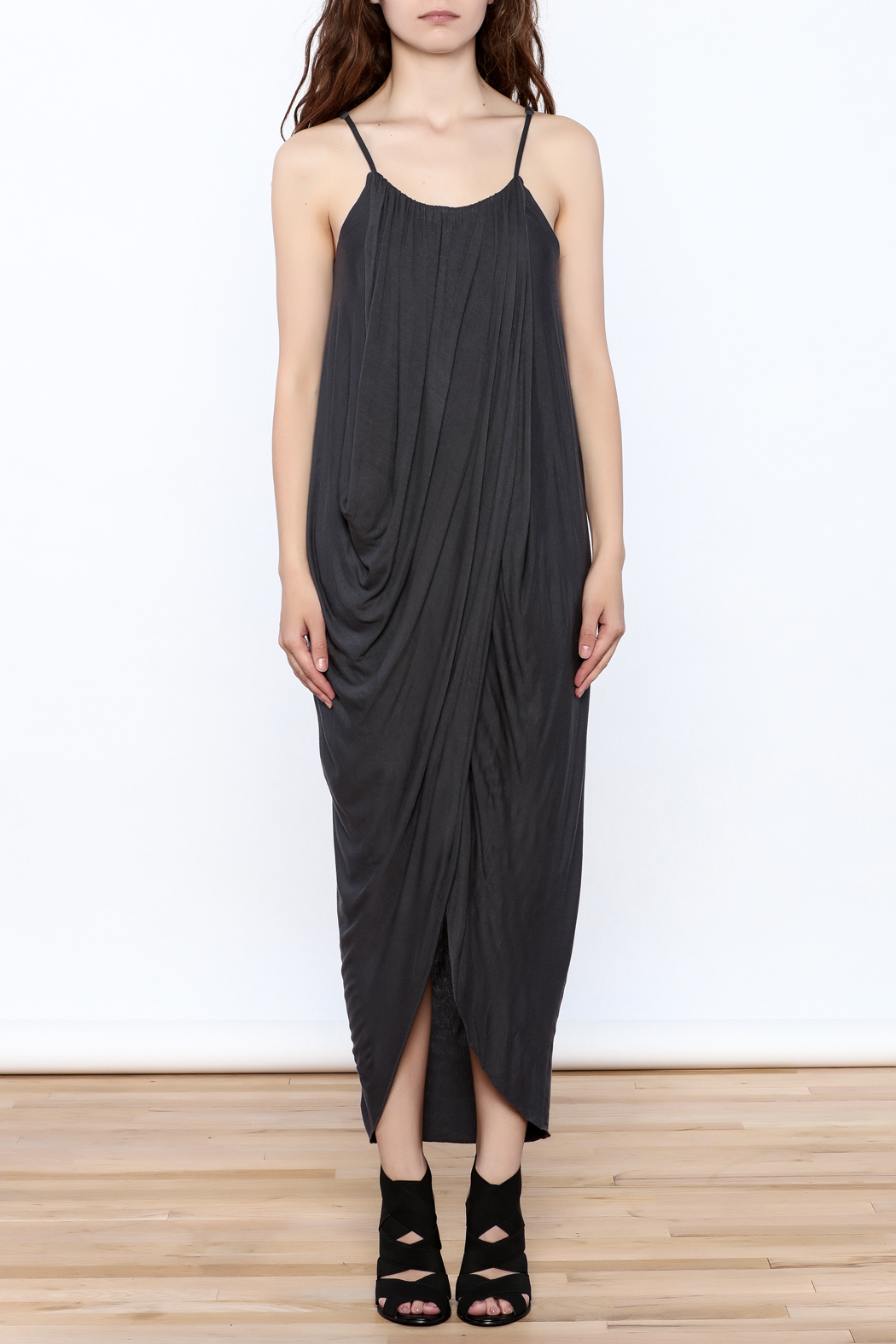 HYFVE Charcoal Drapey Sleeveless Dress - Front Cropped Image
