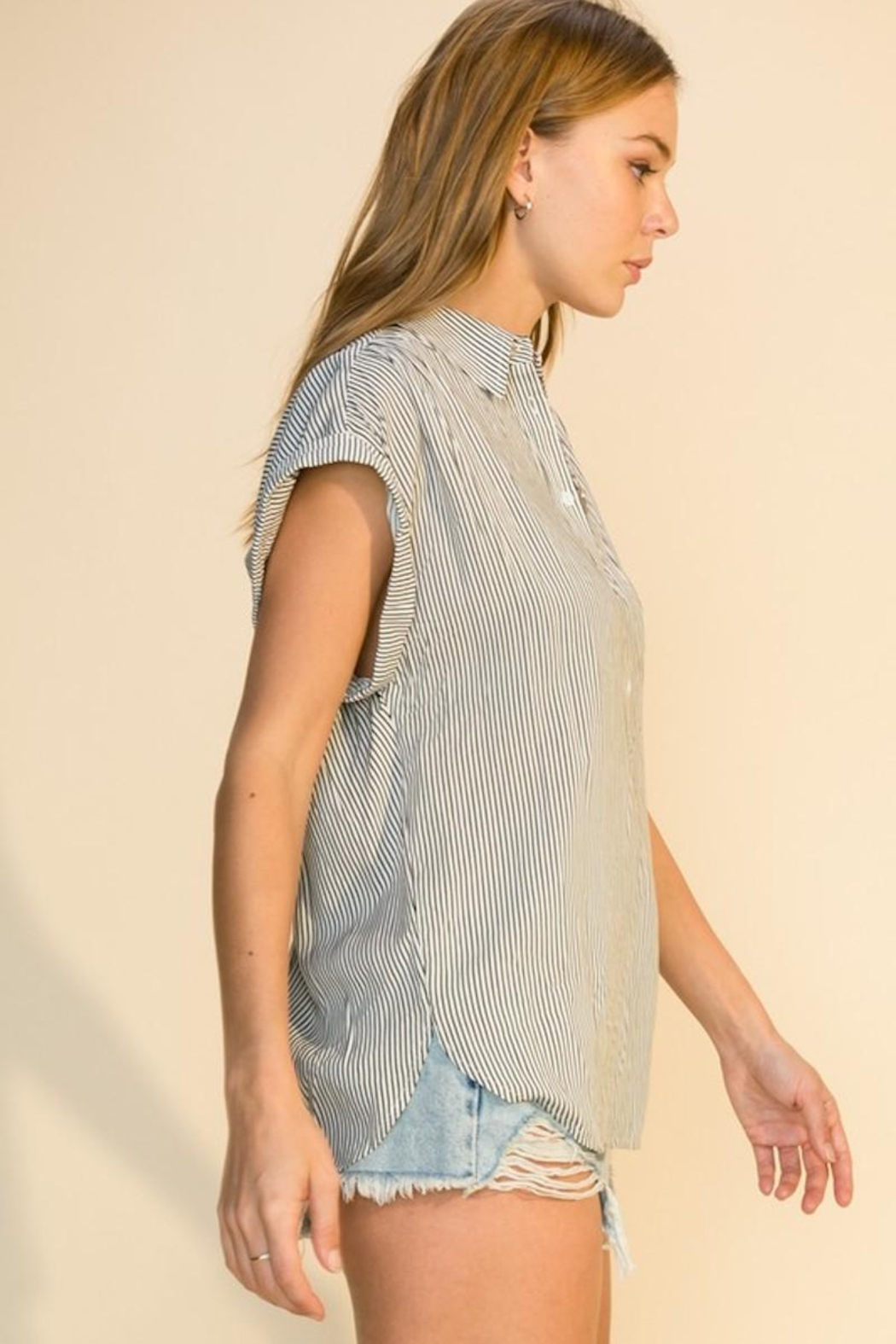 HYFVE Stripe Button Up Top - Front Full Image