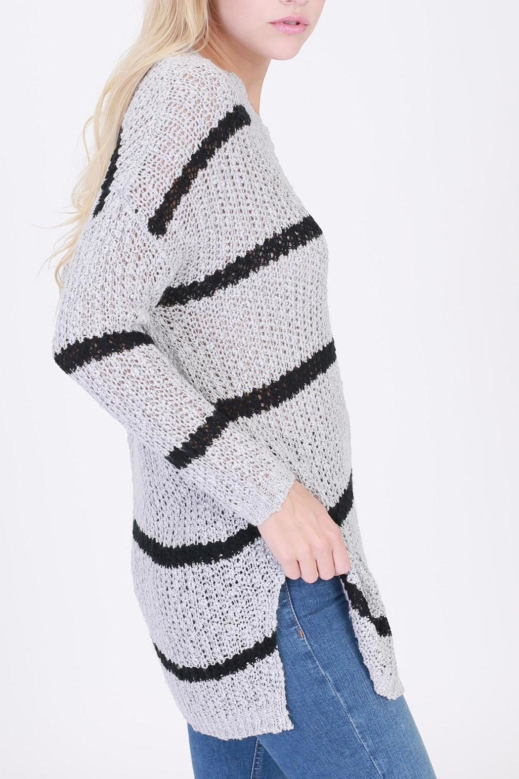 HYFVE Striped Pocketed Sweater - Front Full Image