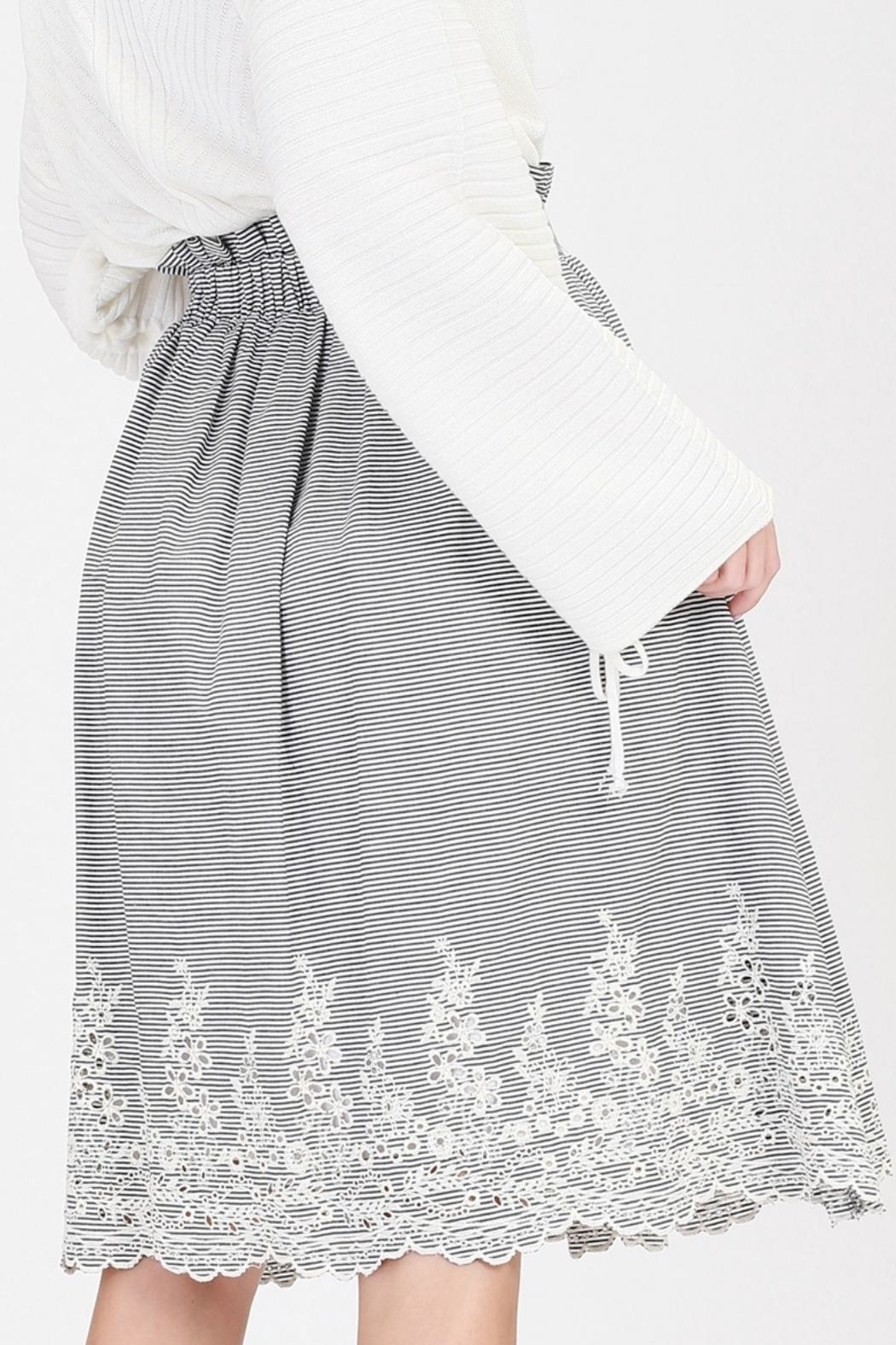 HYFVE Striped Embroidered Skirt - Side Cropped Image