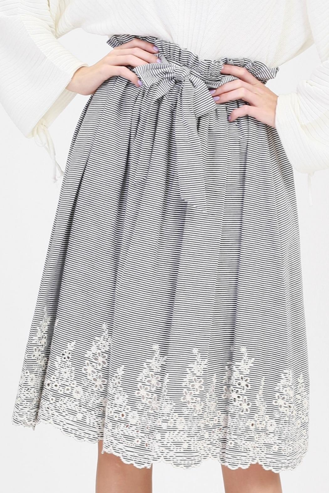 HYFVE Striped Embroidered Skirt - Main Image