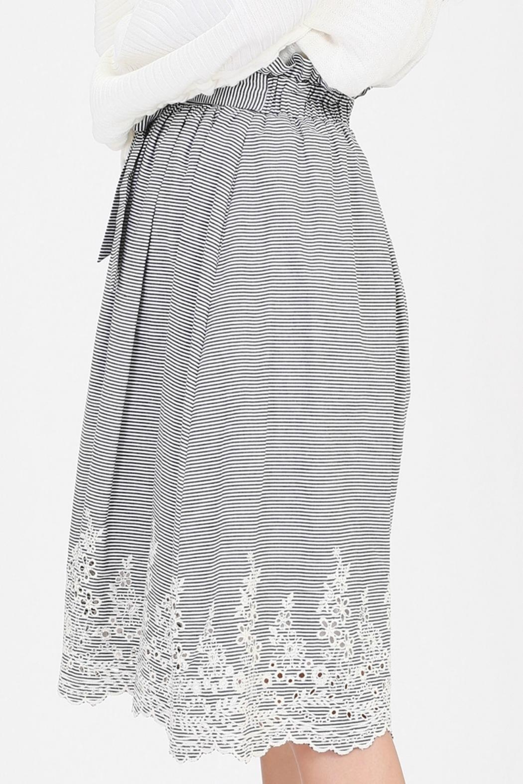 HYFVE Striped Embroidered Skirt - Front Full Image
