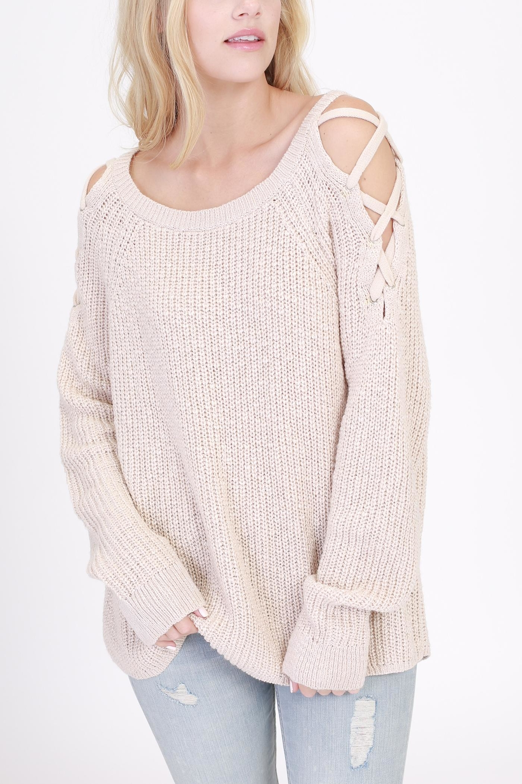HYFVE Tie Shoulder Sweater - Front Cropped Image