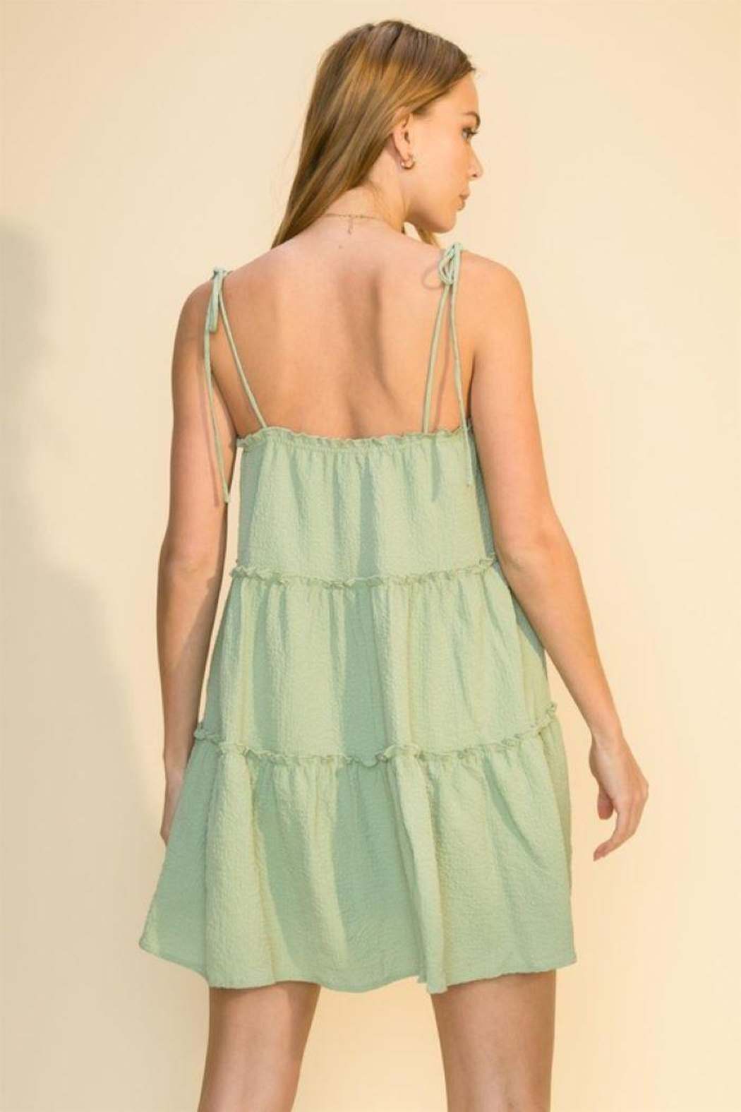 HYFVE Tie Strap Cami Tiered Dress - Back Cropped Image
