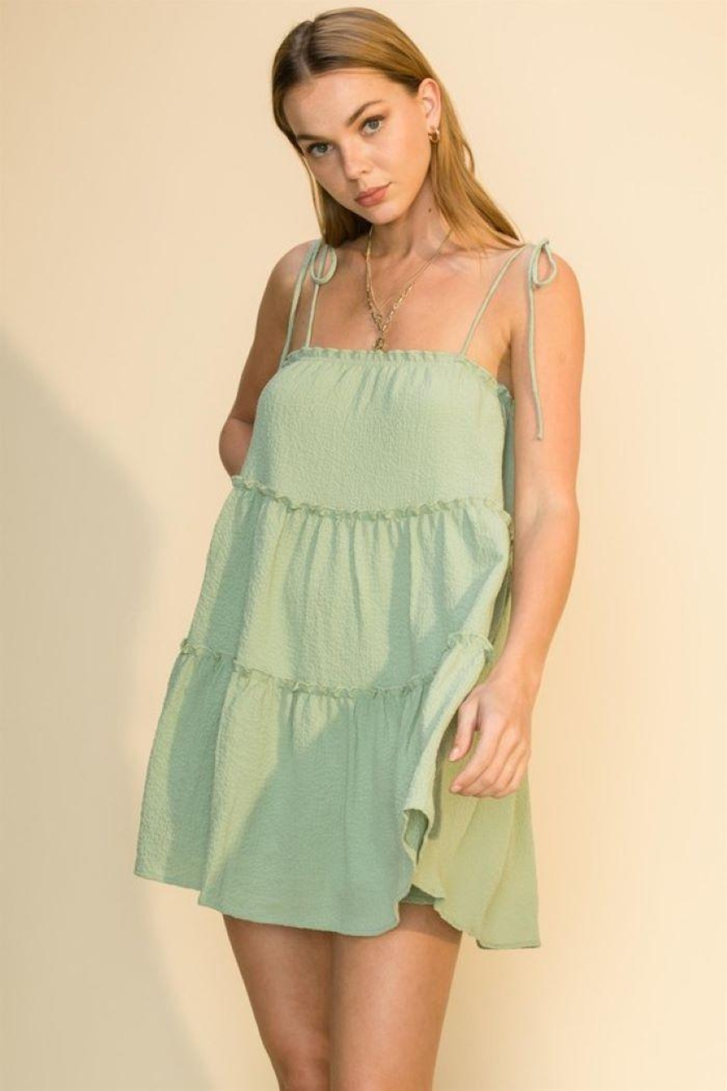 HYFVE Tie Strap Cami Tiered Dress - Front Full Image