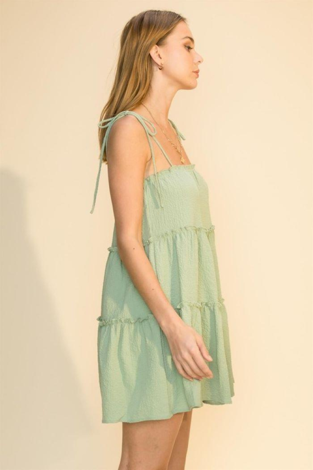 HYFVE Tie Strap Cami Tiered Dress - Side Cropped Image