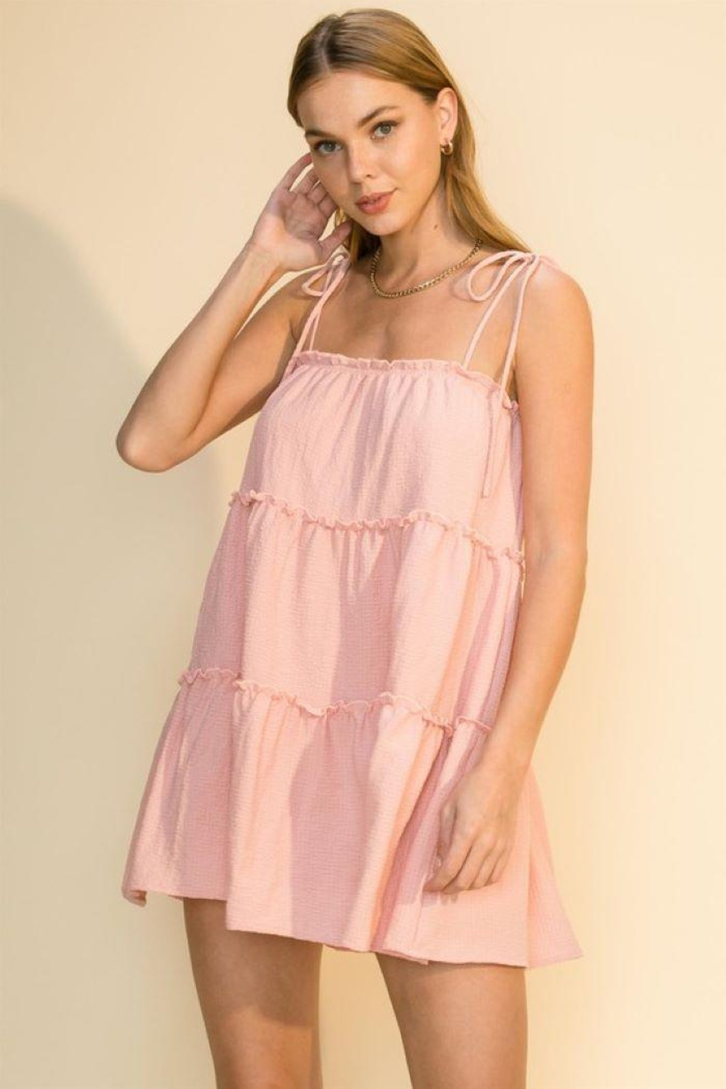 HYFVE Tie Strap Cami Tiered Dress - Front Cropped Image
