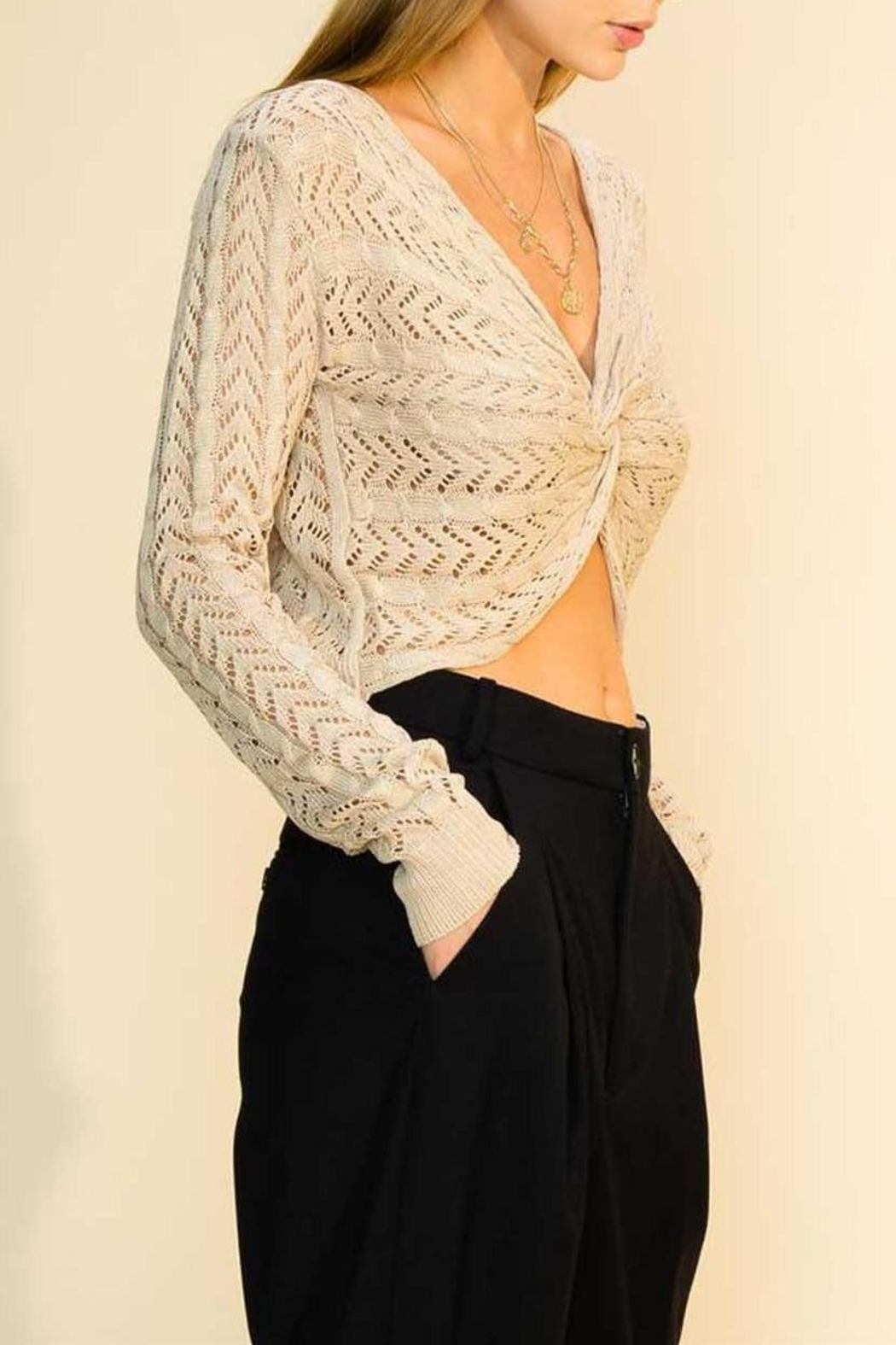 HYFVE Twist Cropped Sweater - Front Full Image