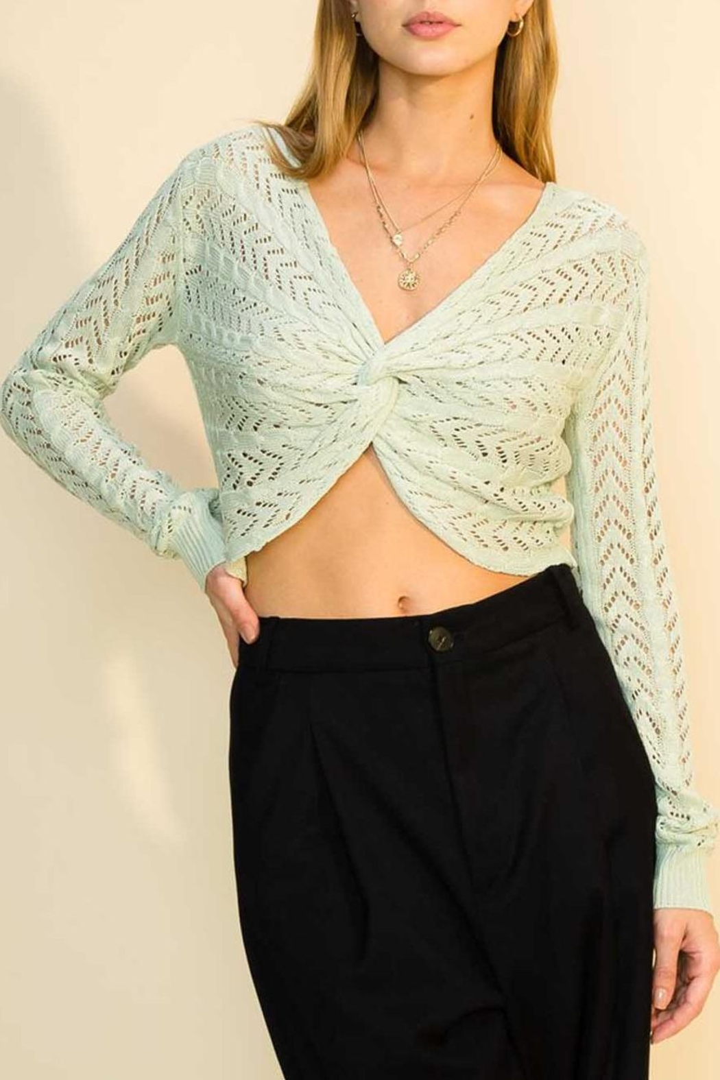 HYFVE Twist Cropped Sweater - Front Cropped Image