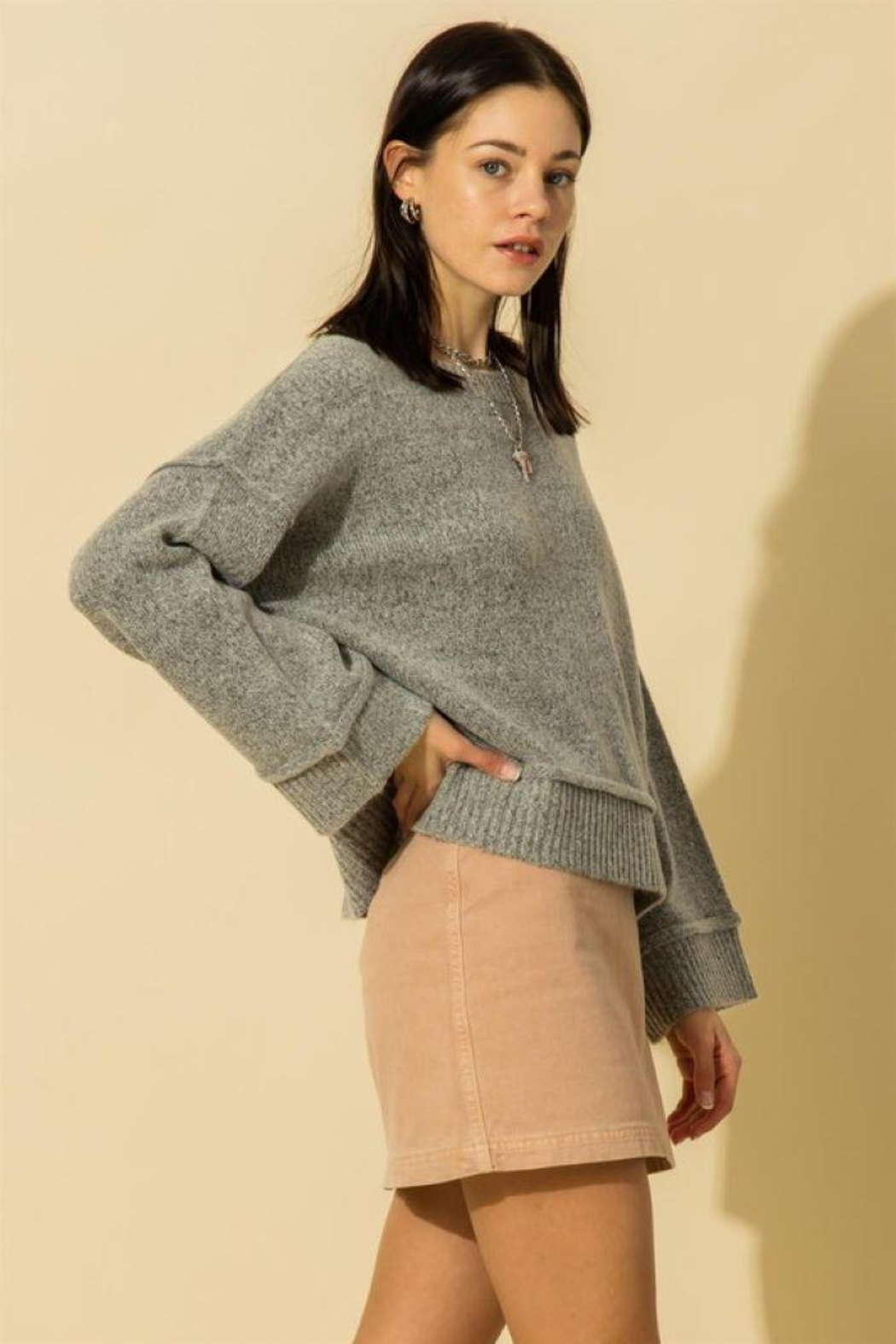 HYFVE Wide Sleeve Pullover Sweater - Front Full Image
