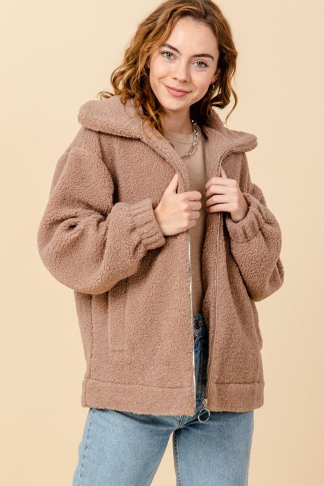 HYFVE Zip-Up Teddy Jackets - Front Cropped Image