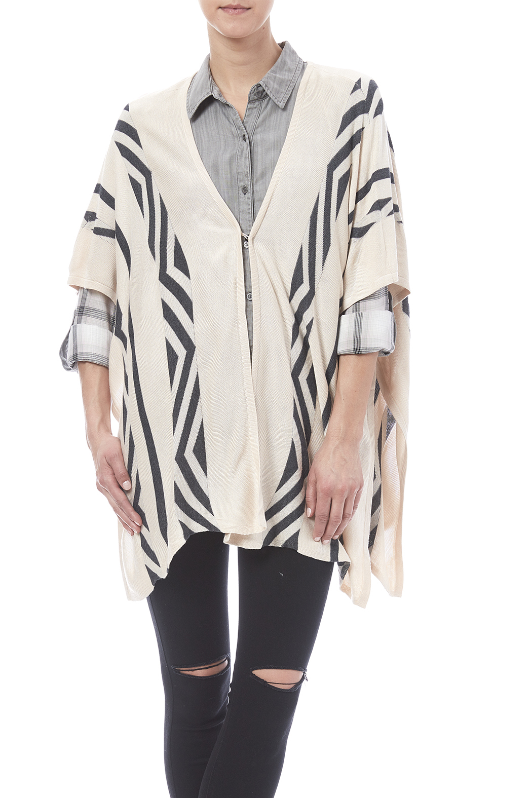 Hyfye Tribal Poncho - Front Cropped Image