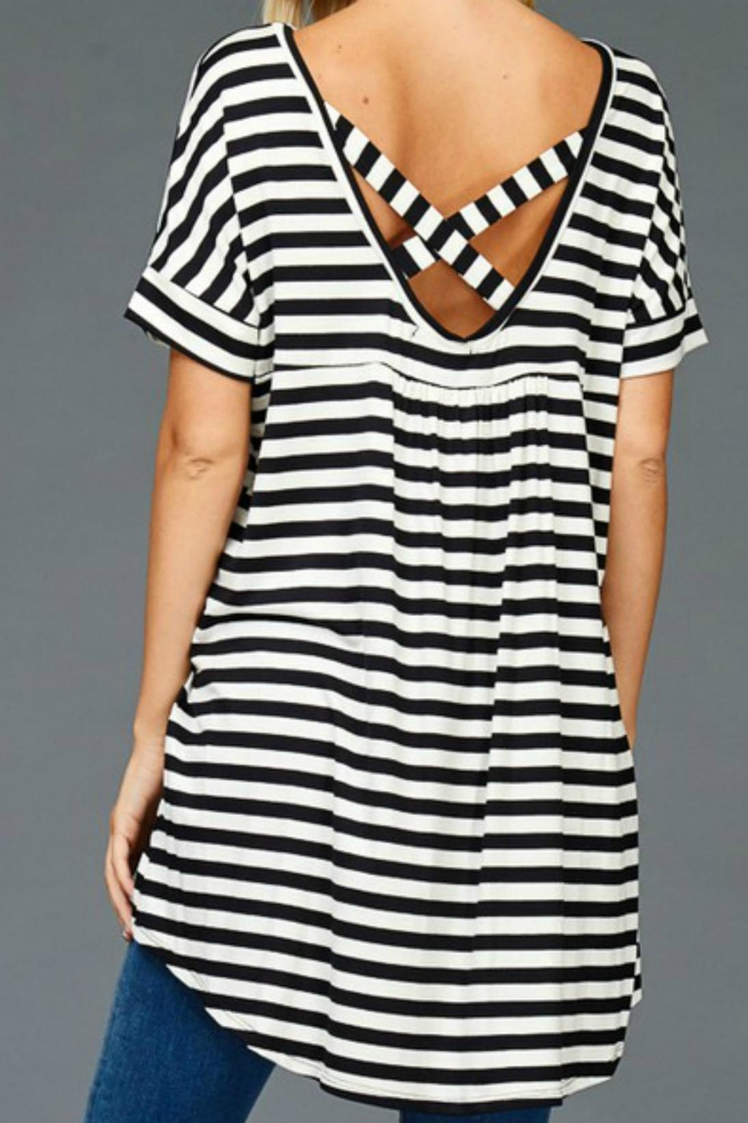 Hyped Unicorn Striped Hem Tunic - Side Cropped Image