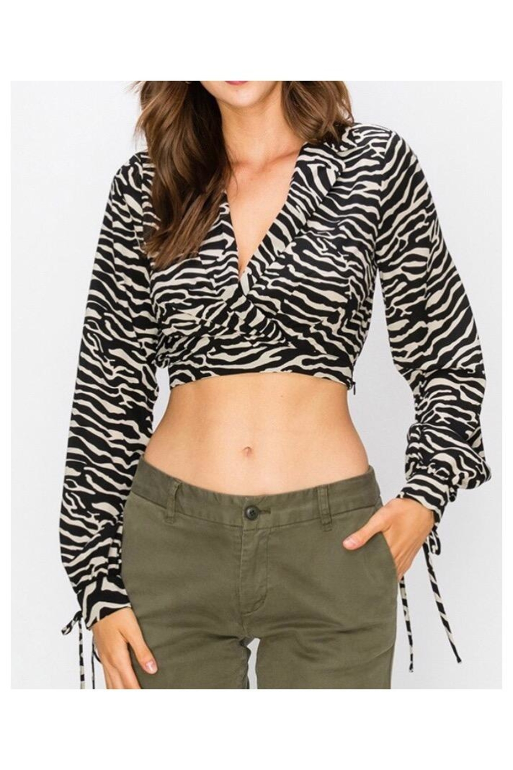 HYVE Zebra Crop Top - Front Cropped Image