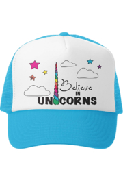 Grom Squad I Believe in Unicorns Trucker Hat - Front cropped