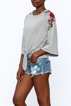 i. Joah Modern Grey Embroidered Top - Product List Image