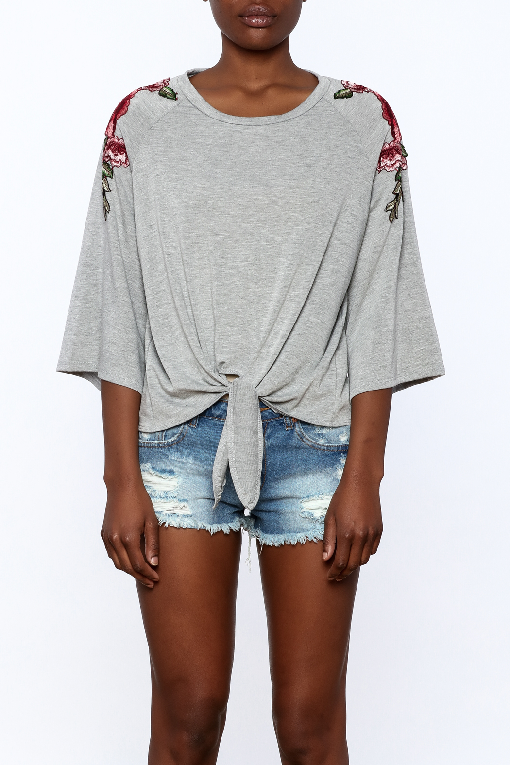 i. Joah Modern Grey Embroidered Top - Side Cropped Image