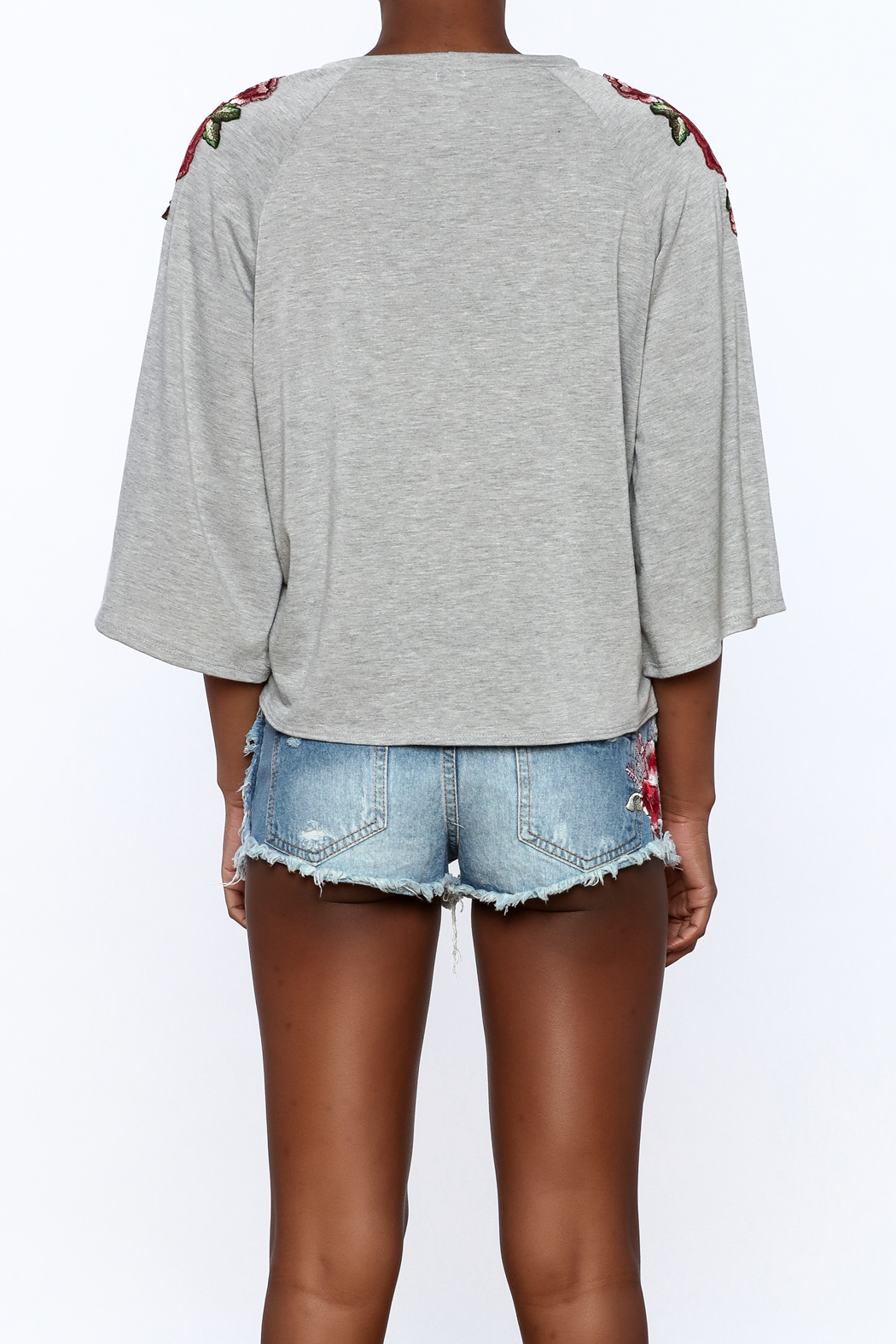i. Joah Modern Grey Embroidered Top - Back Cropped Image
