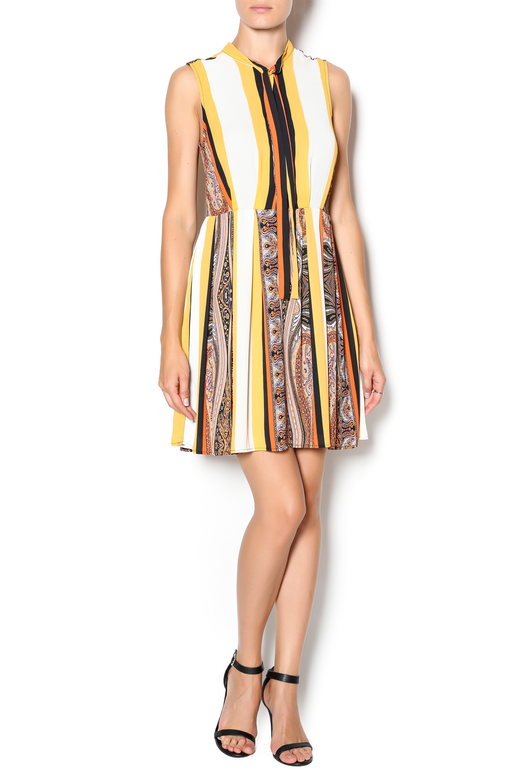 I. Madeline Fall Stripe Dress - Front Full Image