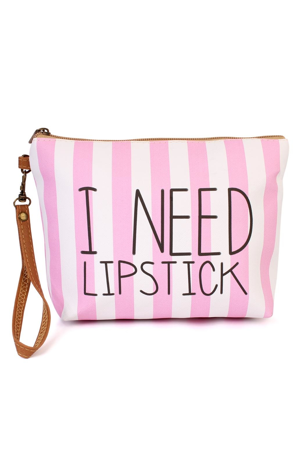 Riah Fashion I-Need-Lipstick Cosmetic Bag - Front Cropped Image