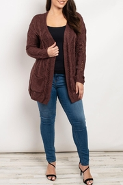 I Love Eggplant Knit Cardigan - Front cropped