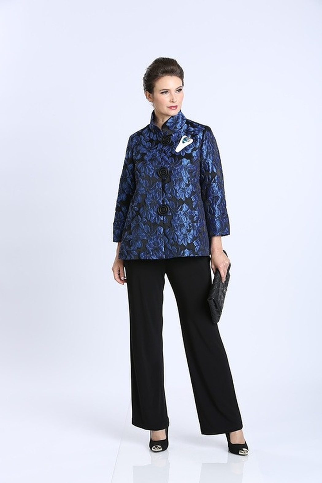 IC Collection Jacquard Button Front Jacket 1514J - Front Cropped Image
