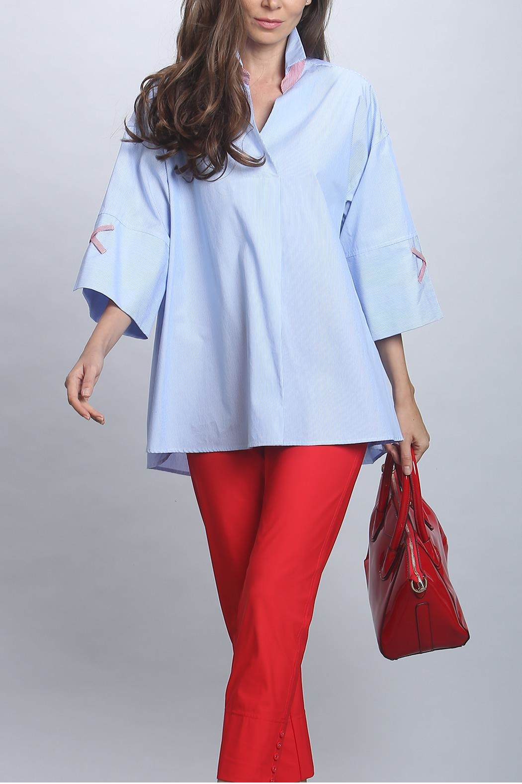 IC Collection Blue Pinstripe Blouse - Main Image