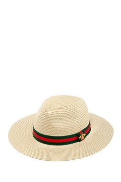 ICCO Bee Accent Green And Red Band Straw Hat - Alternate List Image