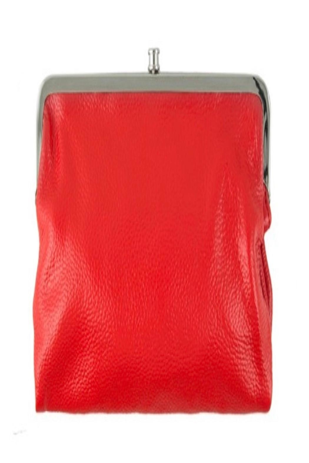 ICCO Red Leather Clutch - Front Cropped Image
