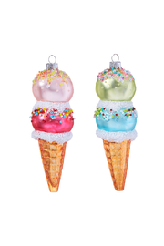 RAZ Imports Ice Cream Cone Ornament 5.5