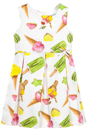 Mayoral Ice-Cream Print Cotton Dress - Front full body