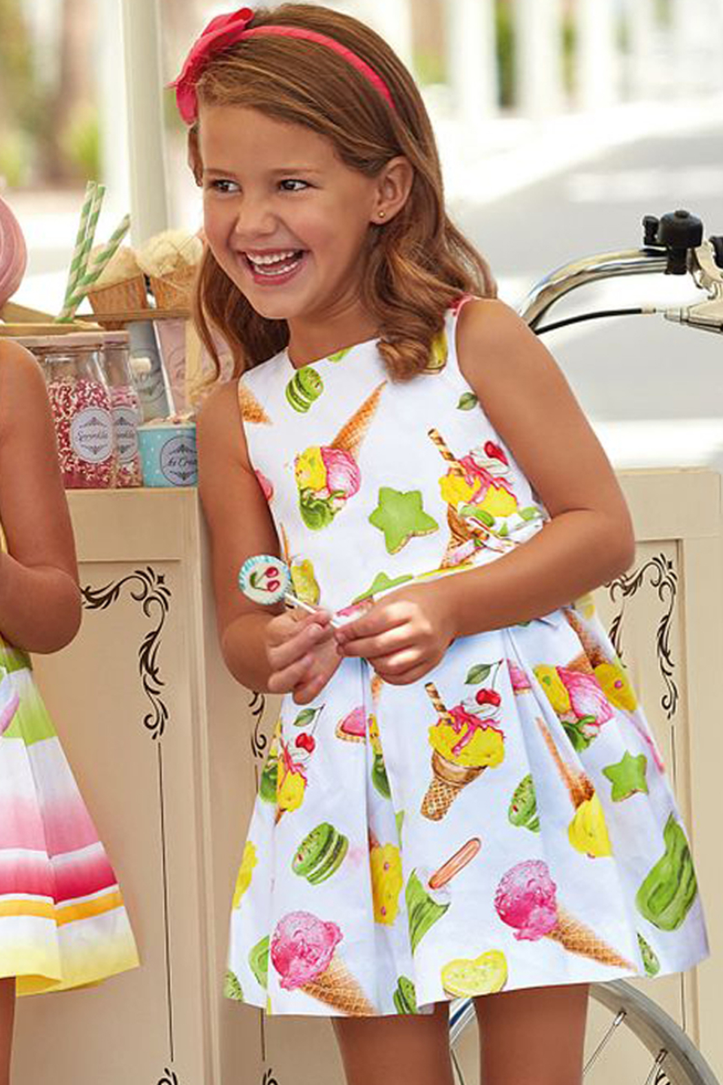 Mayoral Ice-Cream Print Cotton Dress - Main Image