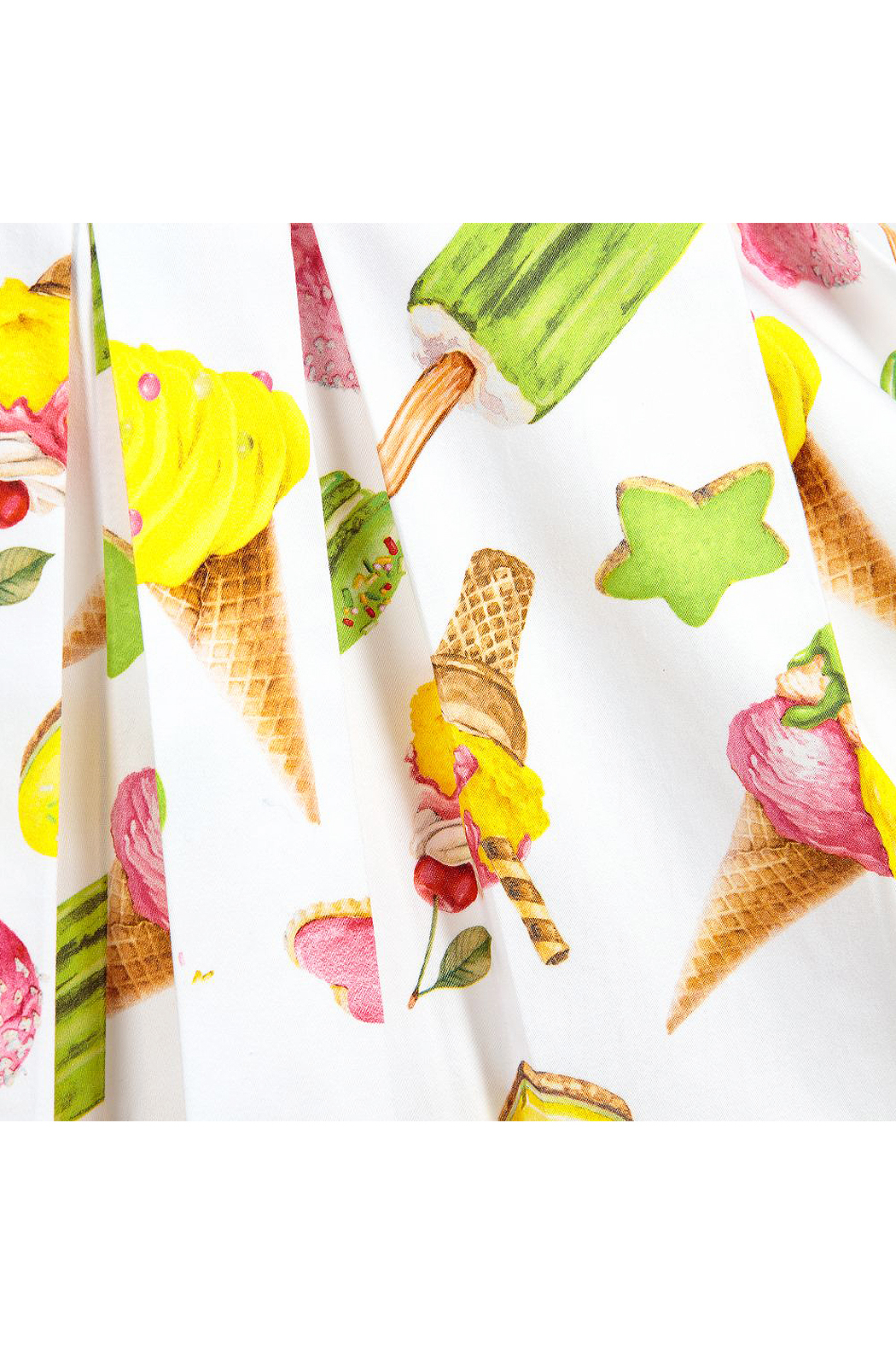 Mayoral Ice-Cream Print Cotton Dress - Back Cropped Image