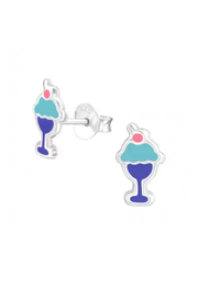 Silver Jewels Ice Cream Stud Earrings - Front cropped