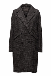 ICHI Black Check Coat - Product Mini Image