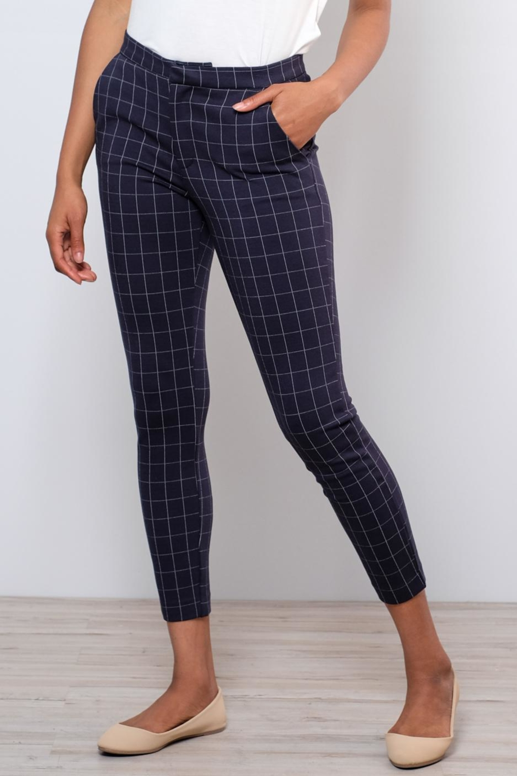ICHI Grid Pattern Pants - Main Image