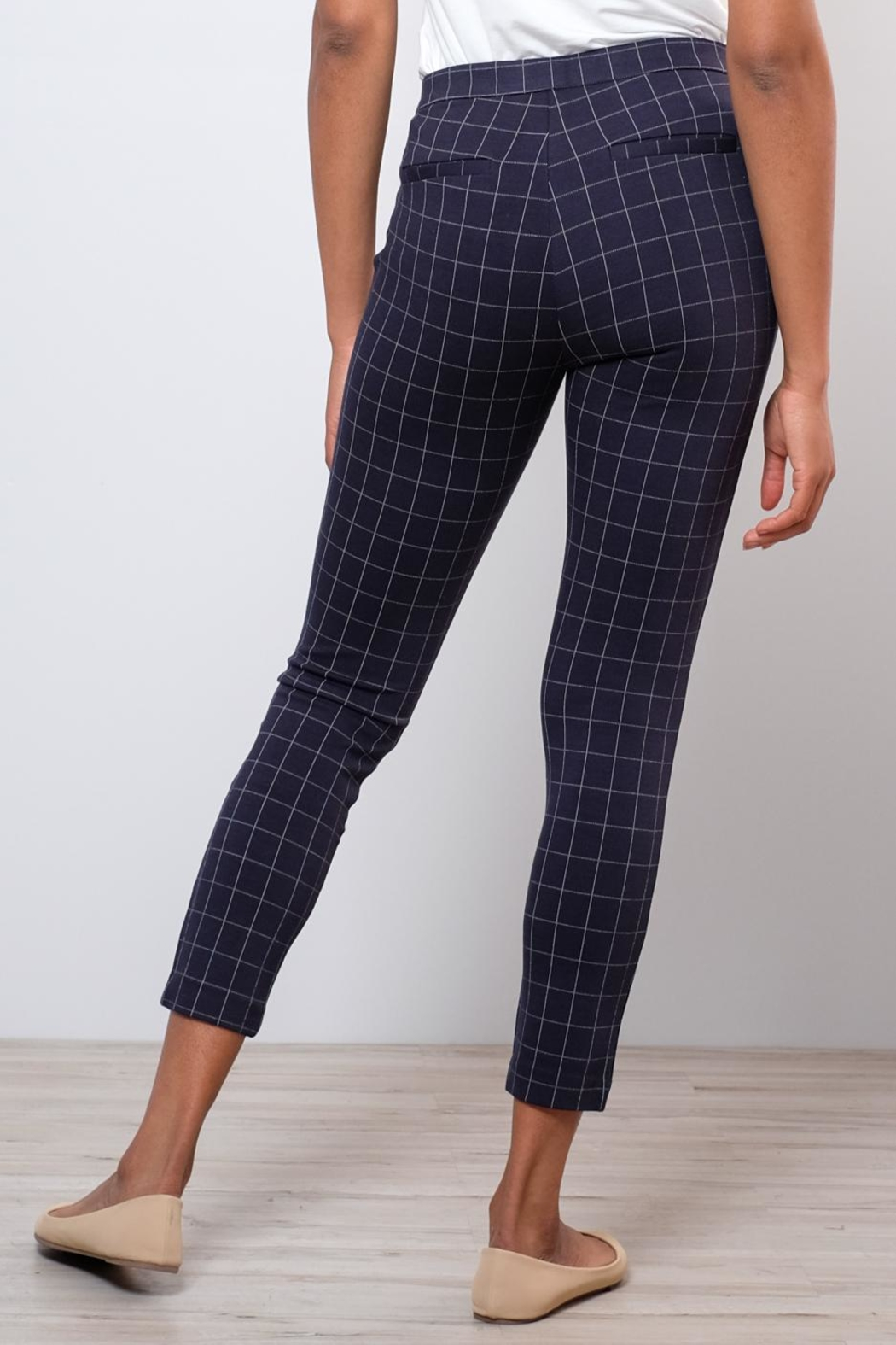 ICHI Grid Pattern Pants - Side Cropped Image