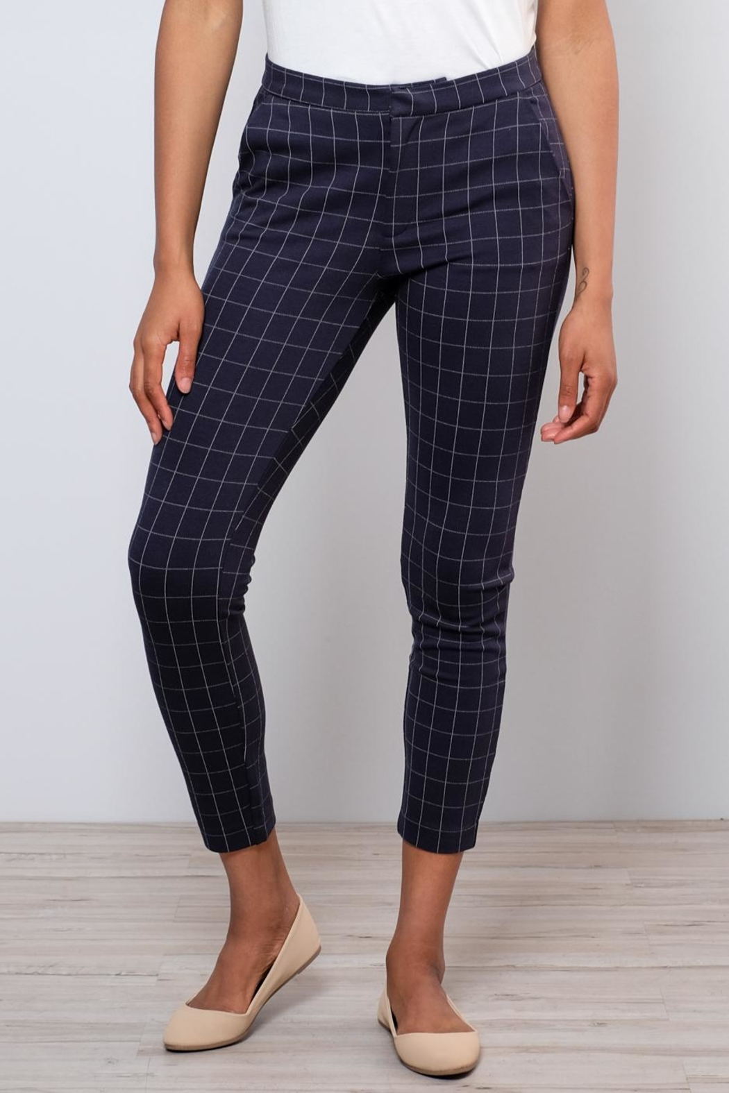 ICHI Grid Pattern Pants - Front Full Image