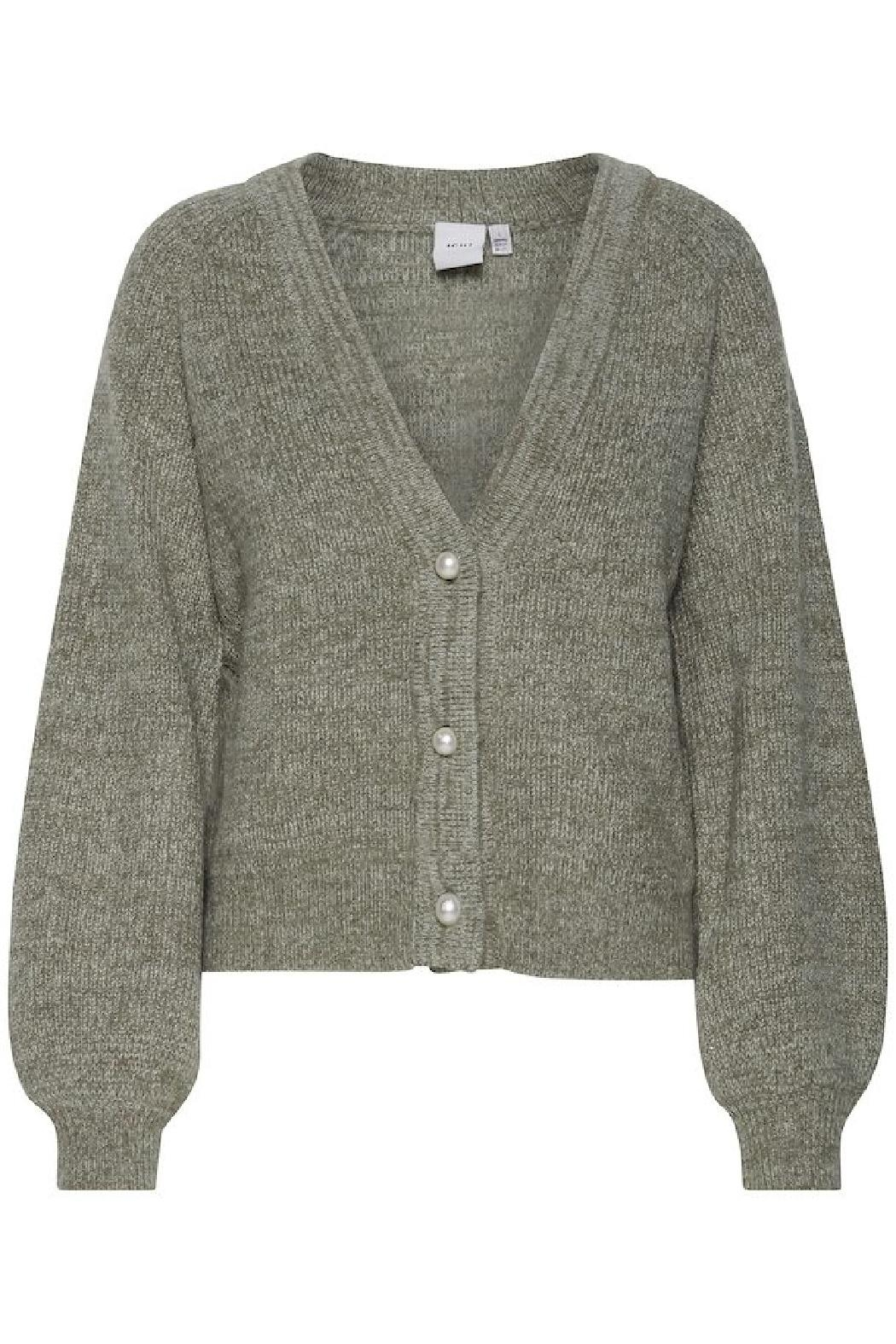 ICHI Lichen Knitted Cardigan - Side Cropped Image