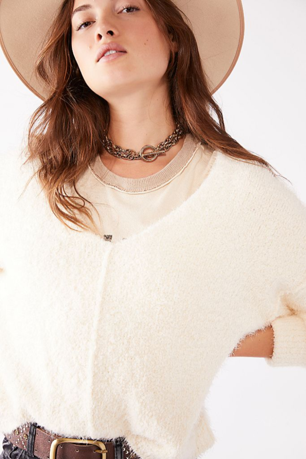 Free People  Icing V-Neck Pullover - Back Cropped Image