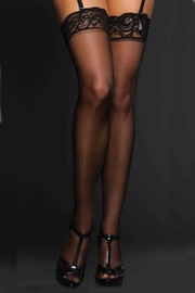 iCollection Sheer Black Thigh-Highs - Product Mini Image