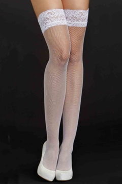 iCollection White Fishnet Thigh-Highs - Alternate List Image