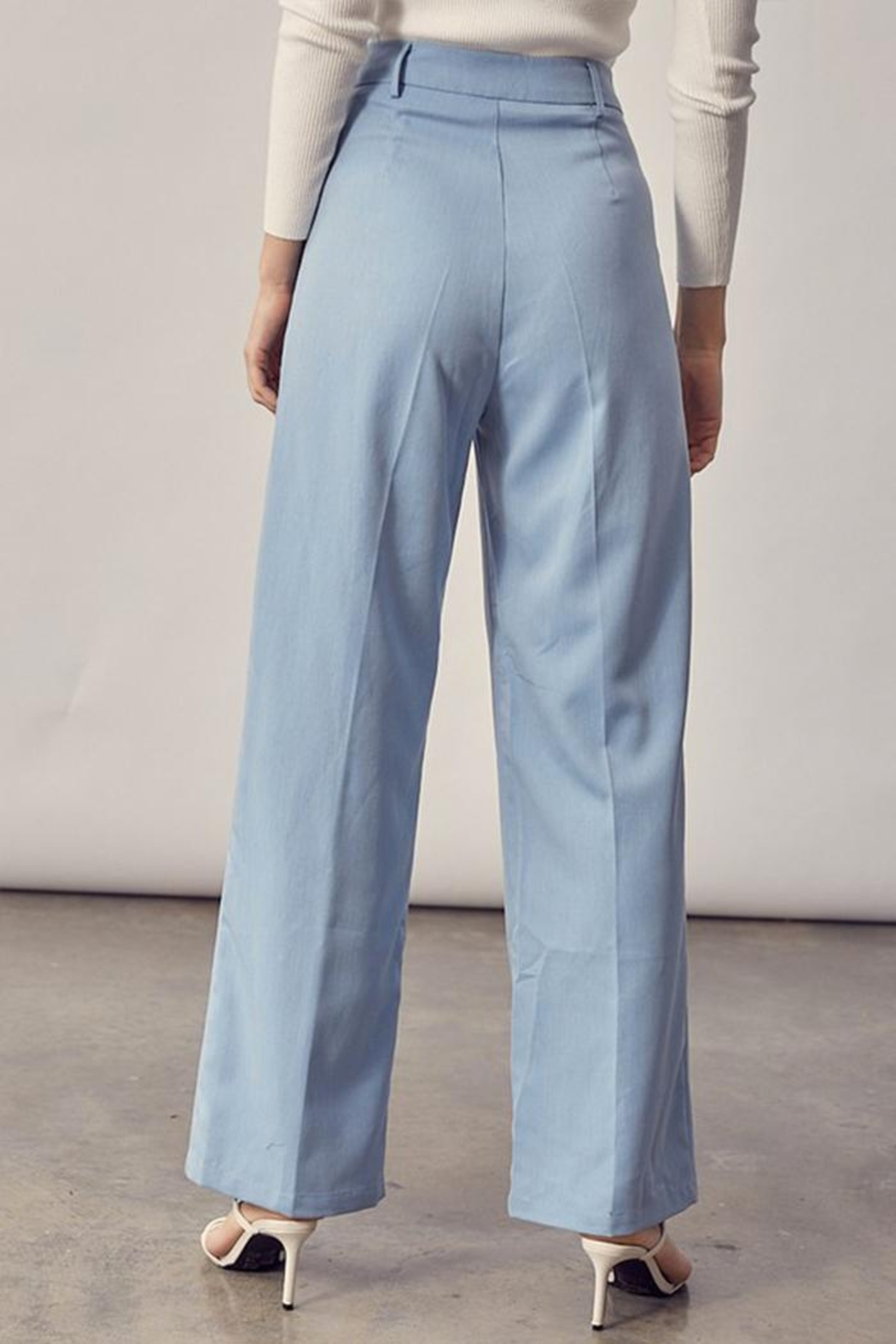 Idem Ditto  Asymmetrical Button Pants - Back Cropped Image