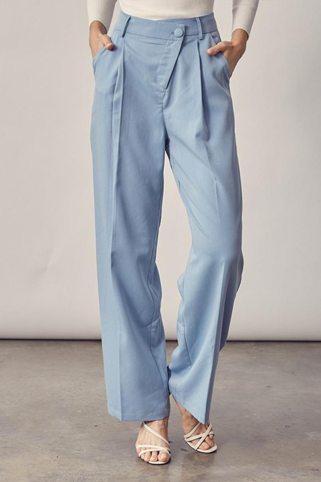 Idem Ditto  Asymmetrical Button Pants - Front Full Image