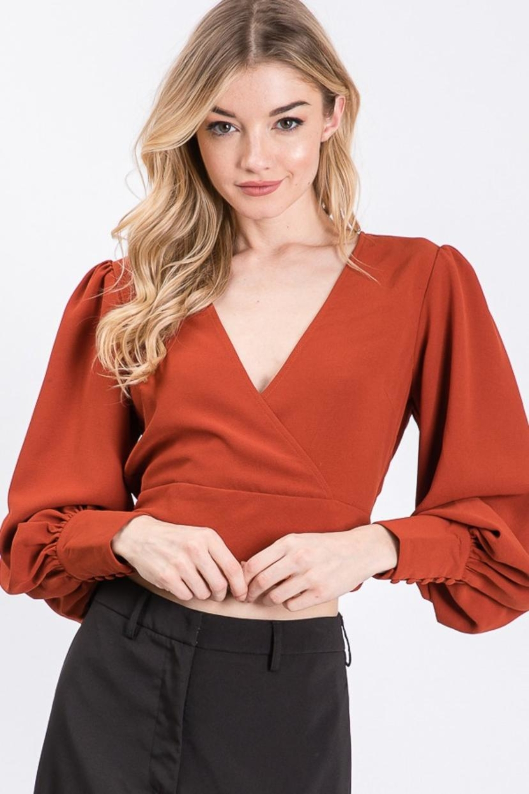 Idem Ditto  Back-Tie V-Neck Top - Front Cropped Image