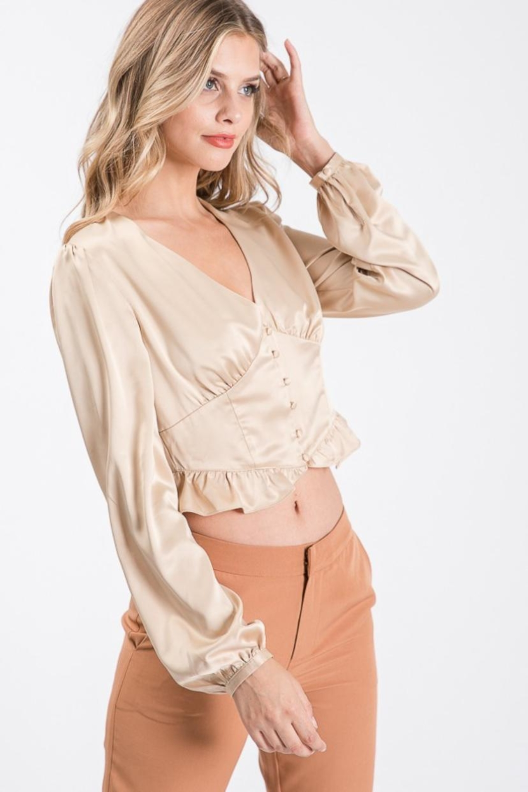Idem Ditto  Button-Down Satin Blouse - Front Full Image