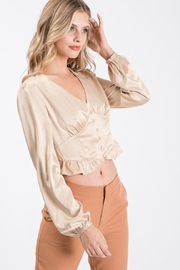 Idem Ditto  Button-Down Satin Blouse - Front full body