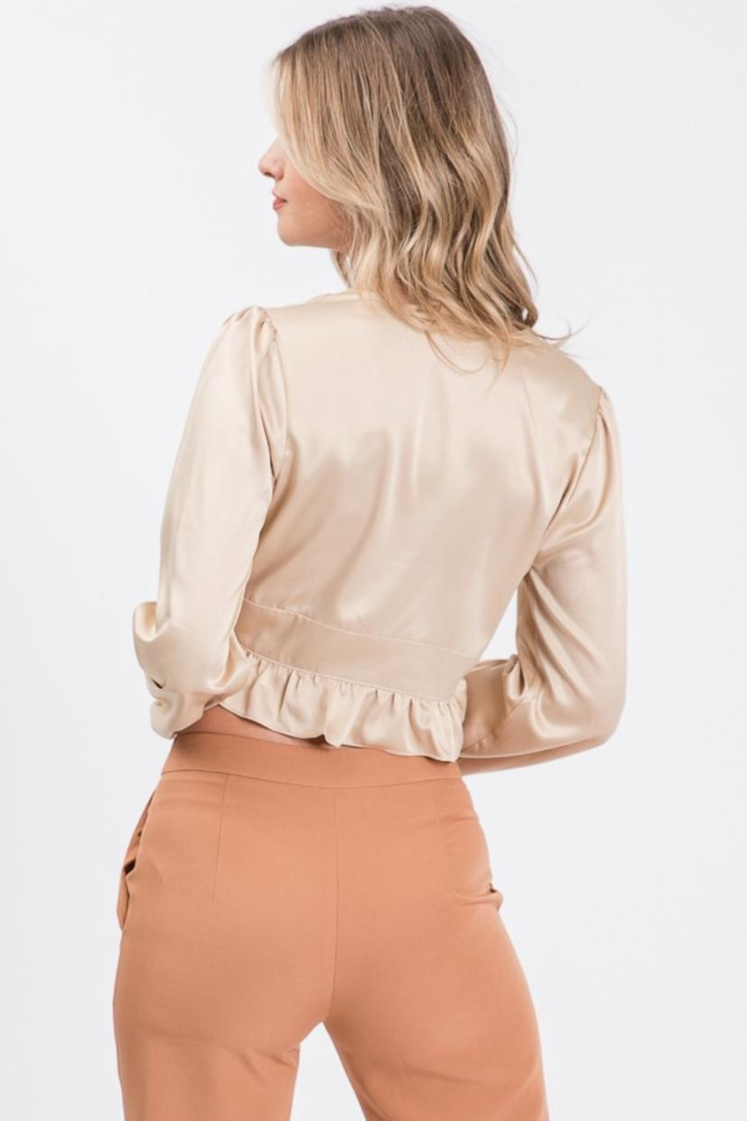 Idem Ditto  Button-Down Satin Blouse - Side Cropped Image