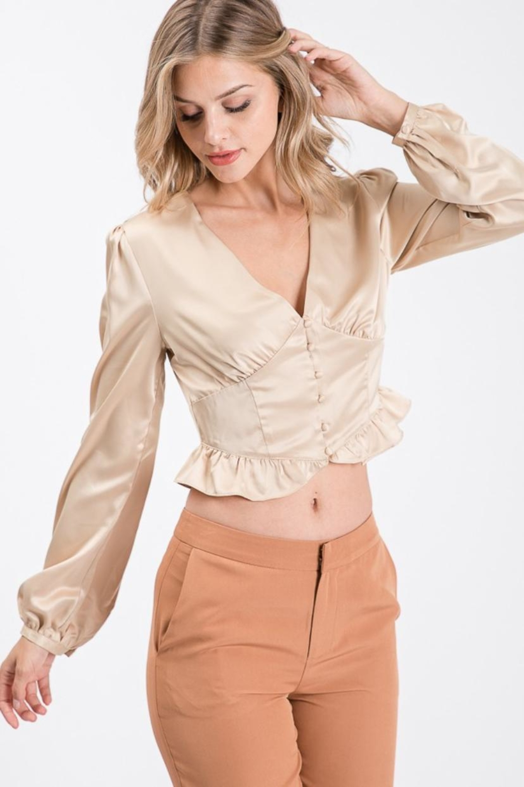 Idem Ditto  Button-Down Satin Blouse - Main Image